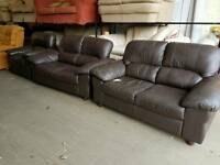Brown leather twin 2 seater sofa suite with matching recliner chair