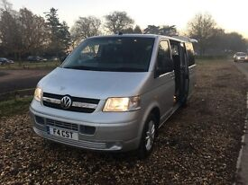VW Transporter T32 T5 130 TDI LWB with rock n roll bed and leather Saab seats!