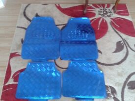 Car blue metallic mats