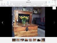 Rustic mango wood storage chest coffee table