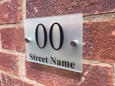 MODERN HOUSE SIGN DOOR NUMBER ADDRESS PLAQUE GLASS EFFECT FROSTED ACRYLIC