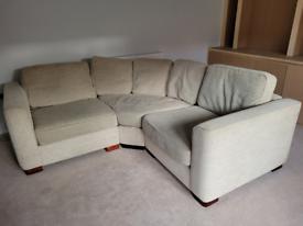 **REDUCED** Corner sofa in a textured neutral cream colour.