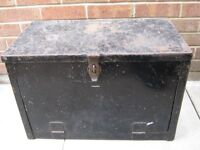 vintage tool box 24x13 1/2x 16 belonged to a panel beater