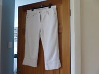 WHITE 3/4 JEANS / CAPRI TROUSERS DORIS TAIFUN BY GERRY WEBER