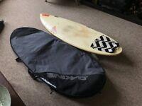 FireWire 5'6 shortboard (with boardbag)