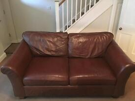 M&S Abbey brown leather 2 seater sofa