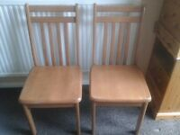 Two x solid wood kitchen chairs