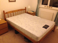 Oak double bed frame and mattress