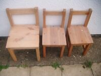 3 SOLID WOOD CHILDRENS CHAIRS