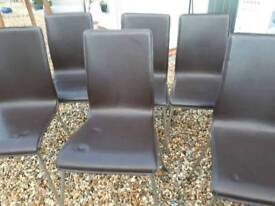 Brown Faux leather/chrome dining chairs x 6