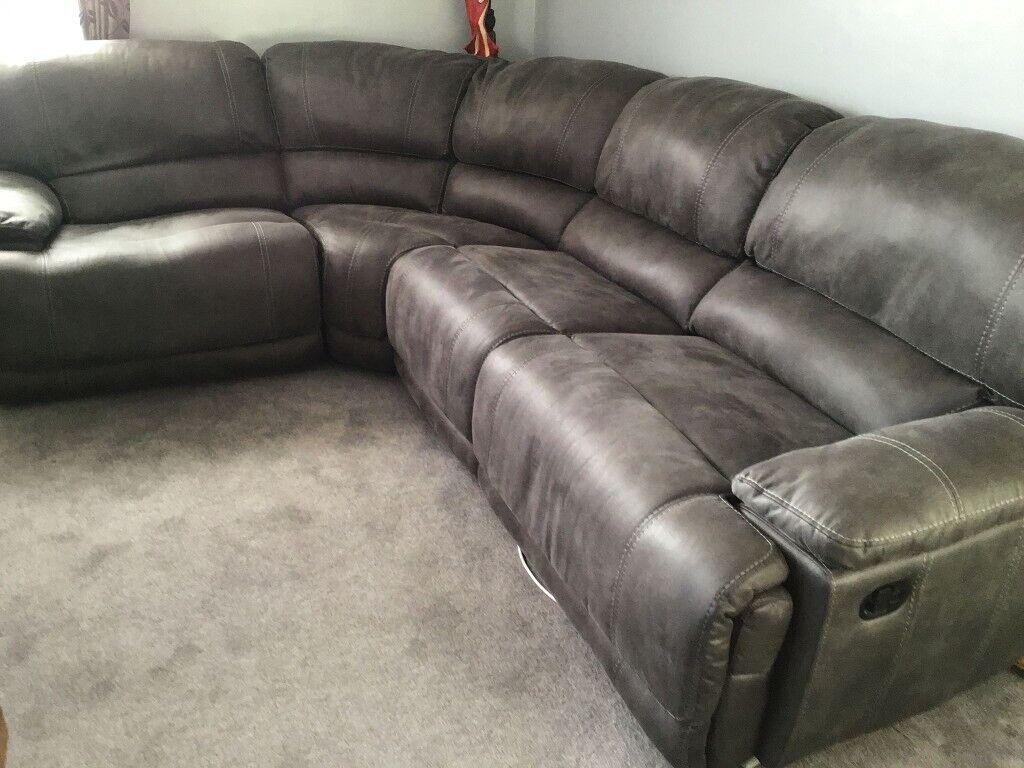 Astounding Grey Leather Corner Reclining Sofa Baci Living Room Creativecarmelina Interior Chair Design Creativecarmelinacom