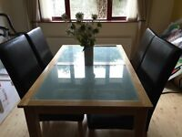 Glass Insert Table & 4 Leather High Back Chairs
