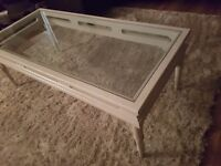 Beautiful White solid wood and glass coffee table