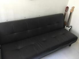 Dark Grey Faux Leather Sofa Bed