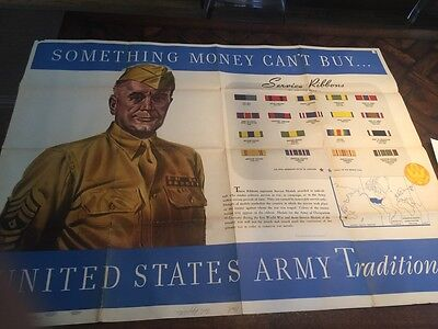 Vintage Large 2 sided 1943 WWII military U.S.Army POSTER * Soldiers Rank Map