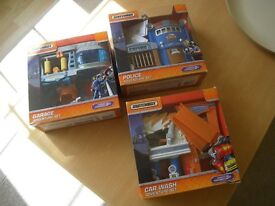MATCHBOX ACTIVITY SETS - BOXED. CAR WASH; POLICE and GARAGE SETS. COMPLETE.