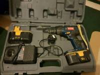 Ryobi 18v drill in complete set with charger , 2 batteries and case