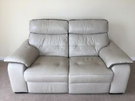 Ivory/cream leather ricliner sofa