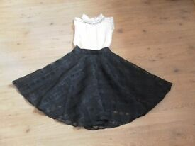 Soma Ladies / Girls Lace & Chiffon Dress. Black & cream. Size xs. Exc condition