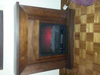 large solid wood electric fireplace