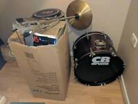 Full cb drum set with music stand with loads of extras
