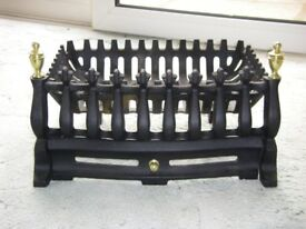 "14"" BLACK CAST IRON FIRE BASKET WITH FRONT FIRE FRET"