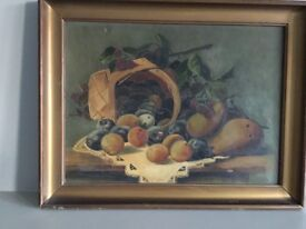 Charming 1925 still life oil painting with fruit in basket