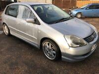 Honda Civic SE CTDI 1686cc Turbo Diesel 5 speed manual 5 door hatchback 54 Plate 04/11/2004 Silver
