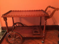 Reproduction Mahogany Occasional Tea/Drinks/Food Trolley. Large Ornate Wooden Wheels
