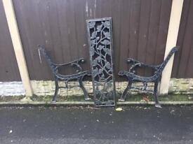 ornate rose & vine cast iron garden bench £30