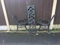 ornate rose & vine cast iron garden bench £30