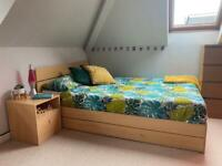 DOUBLE BED + MATTRESS + BEDSIDE TABLE