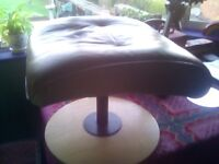 cream leather stool on wooden base