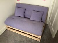 Wooden Frame Futon, Light Purple Mattress and Cushion with Storage Drawer - Excellent Condition