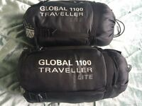 GLOBAL 1100 TRAVELLER LITE SLEEPING BAGS BEST QUALITY ON THE MARKET (cost £79 each)