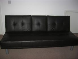 Three-Seater Sofabed Dark Brown in a good condition