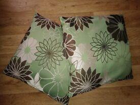 4 floral green/brown cushions