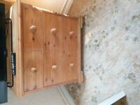 Pine 5 drawer chest of drawers bedroom storage