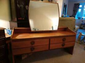 Reduced Mid Century teak dressing table with large mirror