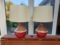 PAIR of JOHN LEWIS large red/brown two-tone ceramic table lamps with shades
