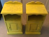 Two Vintage bright yellow bedside tables, distressed wood - for free to collect