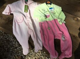 BNWT! Adorable Baby Girls 9-12 months/12 month sleepsuit bundle.