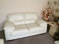 2 & 3 seater cream leather suite