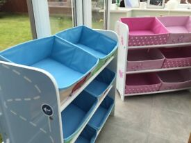 Pink and blue childrens' toy storage units