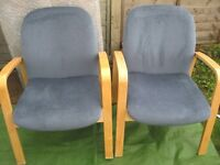 Two Modern Blue Covered Beech Wood Lounge Chairs - £20.00 each