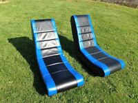 2 blue and black rocking gaming chairs. xbox, ps or WII