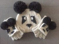 Next Panda Hat And Gloves Set In Excellent Condition