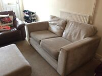 Two-Seater Beige Fabric Sofa With Footstool