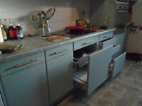 Kitchen units-exceptional quality-pale green smooth fronted wall & base units & extractor.