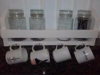 Wooden Kitchen Tidy ,Shelf Storage Unit With Cup hooks.Shabby chic
